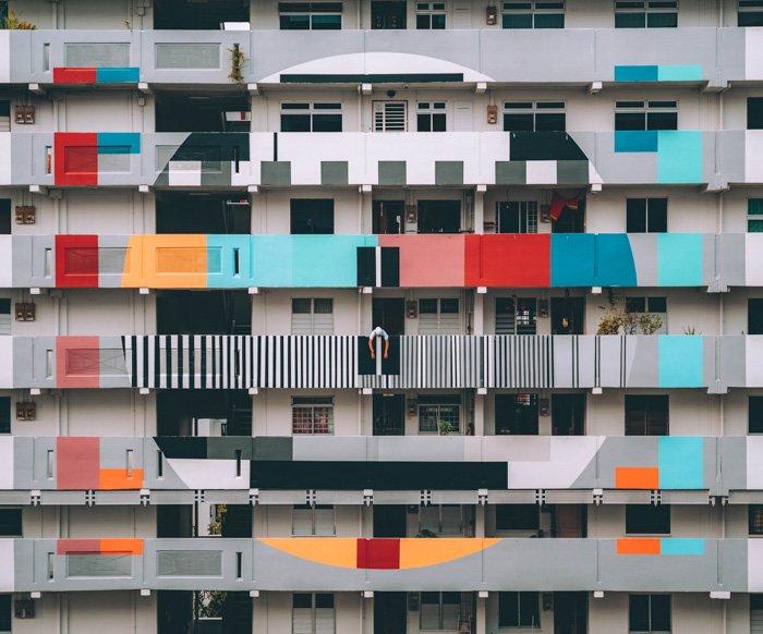 A colorful apartment block building
