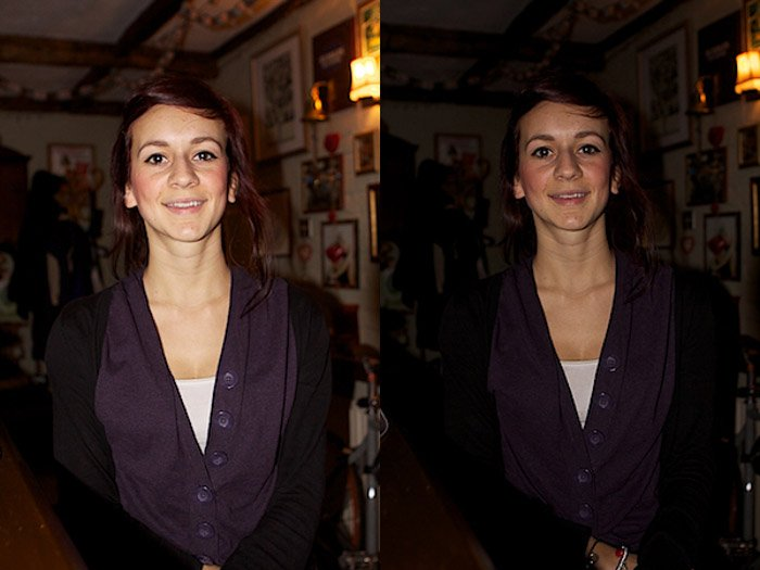 Diptych portrait of a female model comparing the use of an external flash