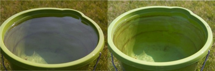 A diptych of the same photo of a green bucket on a sunny day, before and after using a polarizing filter