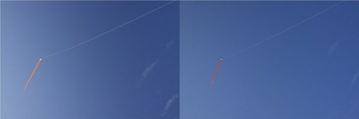 A diptych of the same photo of a kite flying in a blue sky on a sunny day, before and after using a polarizing filter