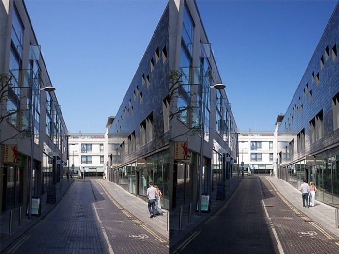 A diptych of the same photo of a cityscape on a sunny day, before and after using a polarizing filter