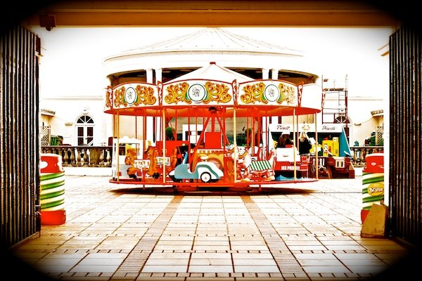 An over-photoshopped image of a carousel - Reasons Your Photos Suck
