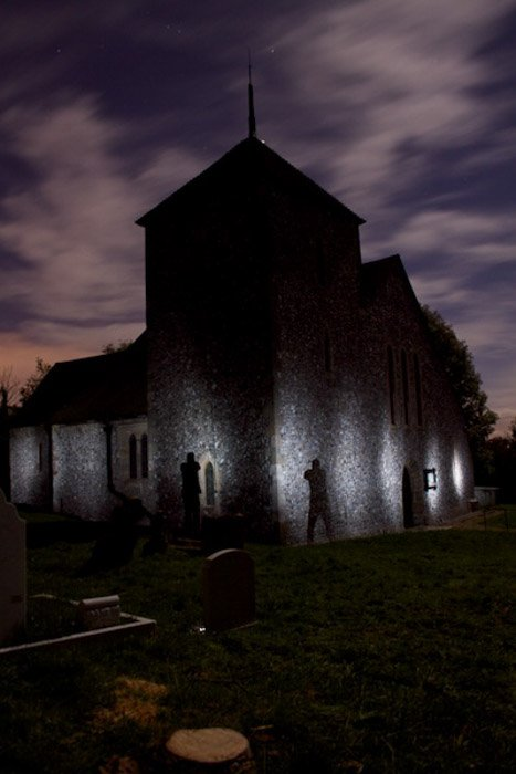 Atmospheric photo of a church at night - when to use a flash