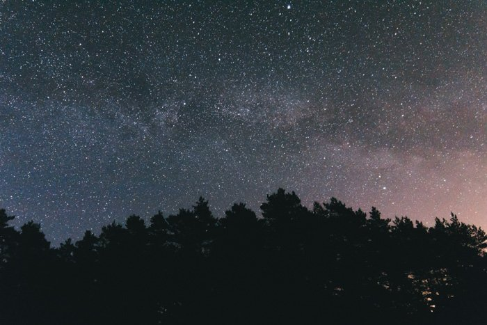 Stunning milky way photography shot of a star filled night sky over the silhouettes of trees