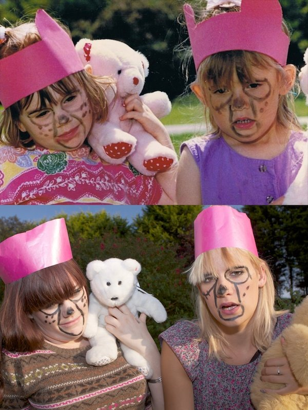 Two photos side by side, one of two young girls with their faces painted and another one with two grown women replicating the original photo