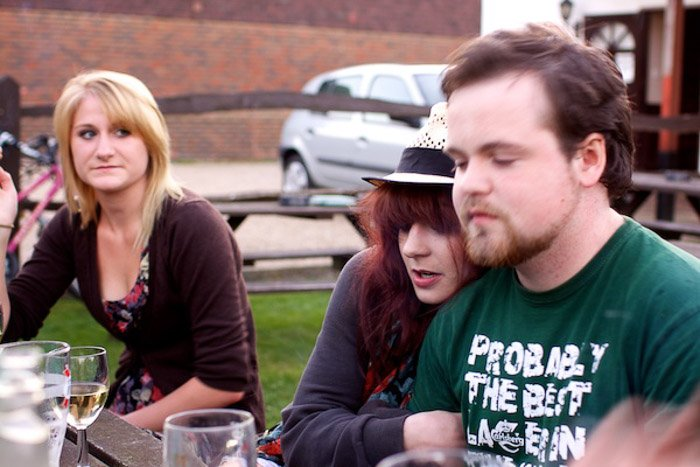 A candid portrait of friends sitting outdoors - dynamic tension photography