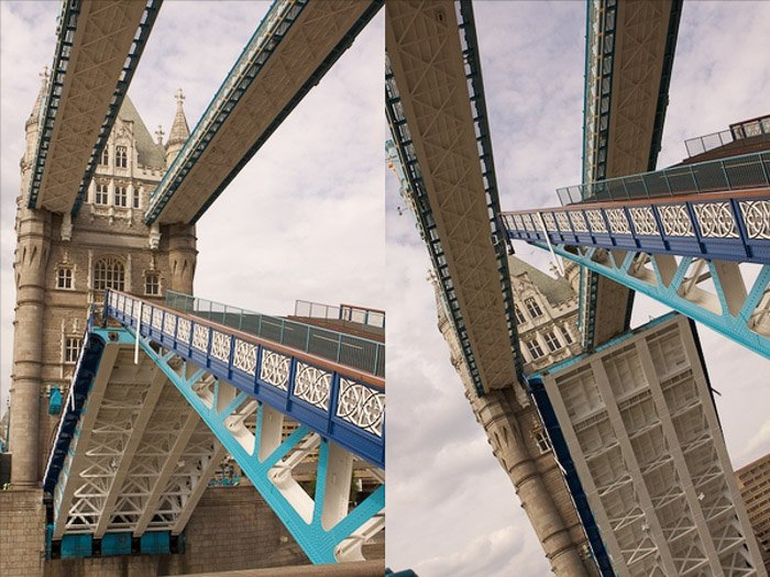 a diptych of architecture photography demonstrating the use of dynamic tension in photography