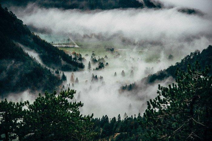 High angle view of a misty landscape