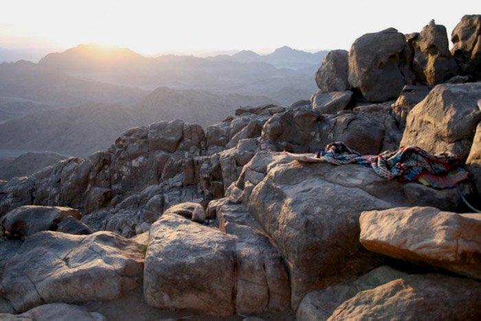A rocky mountainous landscape on a sunny day