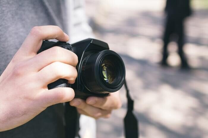 Close-up photo of a camera