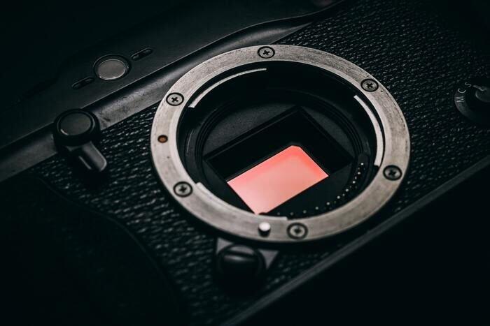Close-up photo of a camera sensor