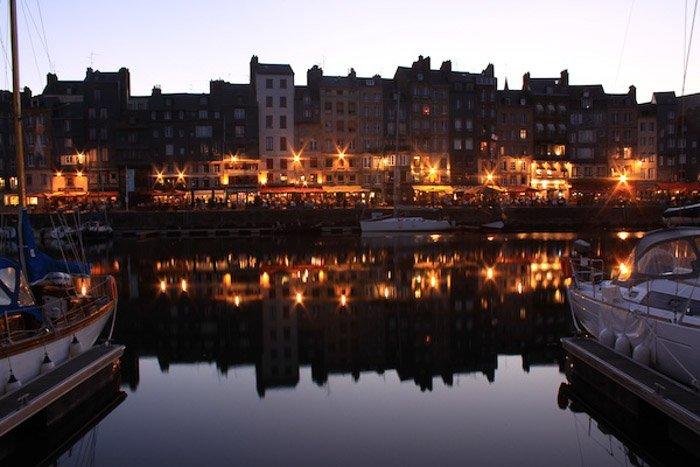 An evening harbour town