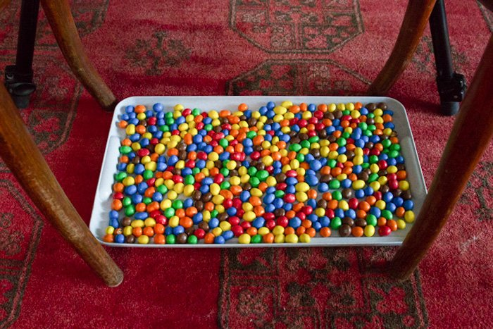 A tray of m&m's - water drop photography