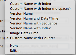 A screenshot of the 'Version Name' drop down menu within the Aperture Libraby