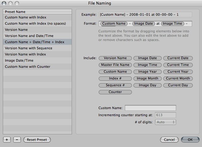 A screenshot of the File naming tab within the Aperture Library