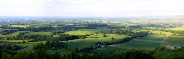 landscape panoramic photo of green fields