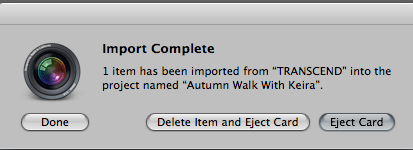A screenshot of the Import complete message