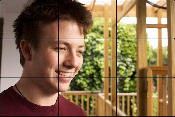 Using a composition grid to critique a photo of a man posing outdoors