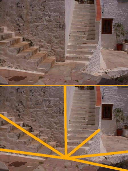 composition rule dynamic tension on stairs