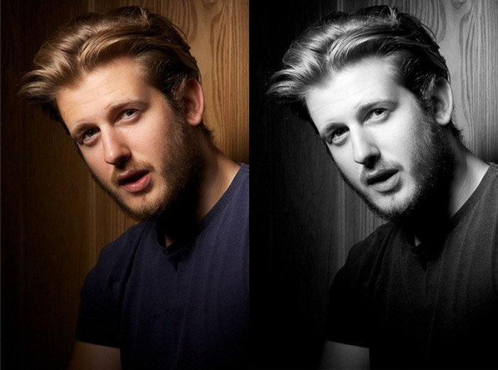 color and black and white portrait diptych of a young male model posing indoors