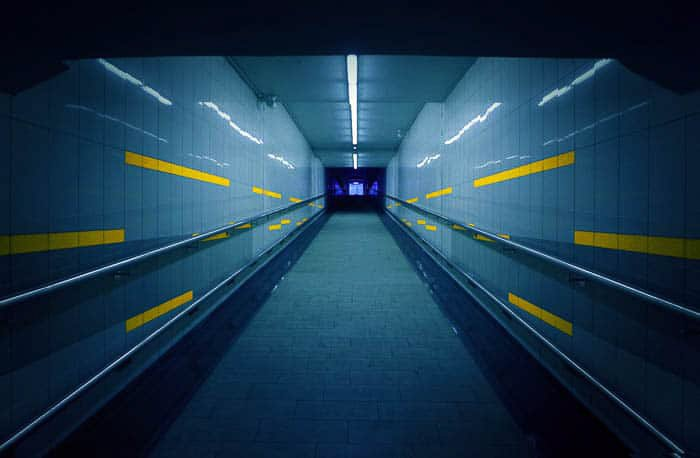 An atmospheric shot of an underground tunnel