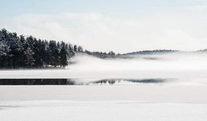 A pristine winter landscape scene