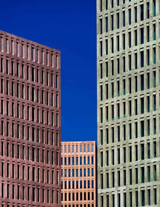 A cityscape shot of three tall buildings demonstrating the use of visual weight in photography