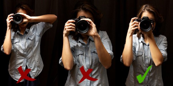 three positions of holding the camera straight up - How to Hold a Camera
