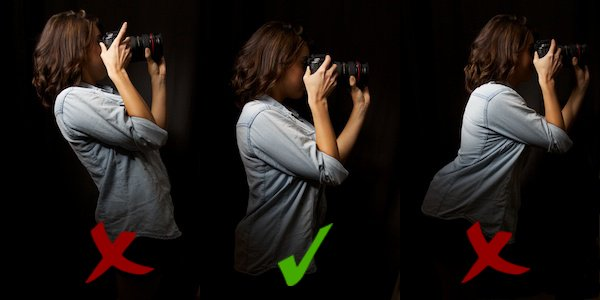 three positions of how to hold a camera standing up - side view