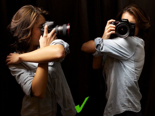 Two positions of how to use your arm to steady you images - How to Hold a Camera