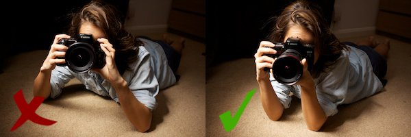 two positions of how to hold a camera while lying down