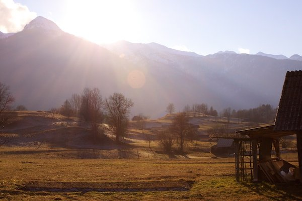 lens flare in the slovenian mountains