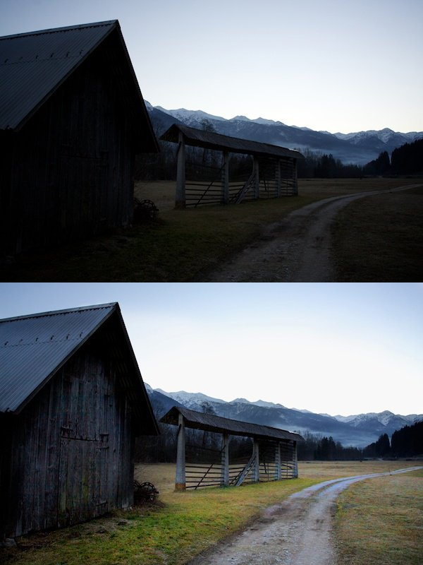A before and after image of using the burn & dodge tools Instead of HDR