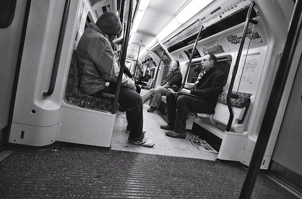 People on the underground - black and white street photography
