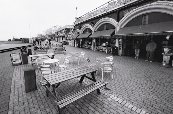 An image of restaurant fronts in Brighton - black and white street photography