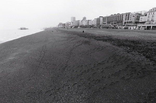 A gloomy beach scene - black and white street photography