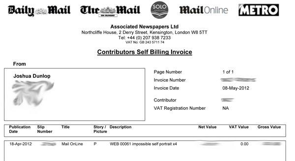 Screenshot of a billing invoice