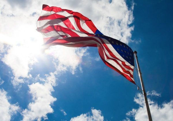 An image of the American flag. Low Angle – 30 Day Photography Challenge Tips