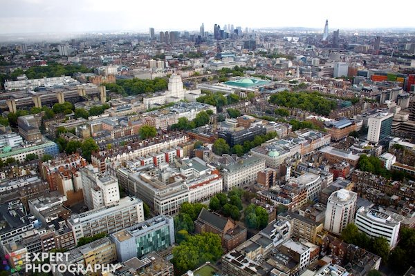 An image of a cityscape, shot at an angle. High Angle – 30 Day Photography Challenge Tips
