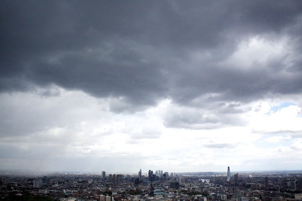 clouds and skyline of a city