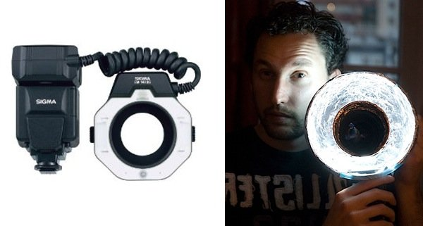Diptych showing a DIY Photography Lighting ring flash