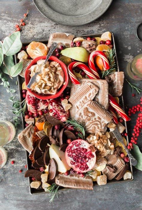 Flat lay Christmas food photography