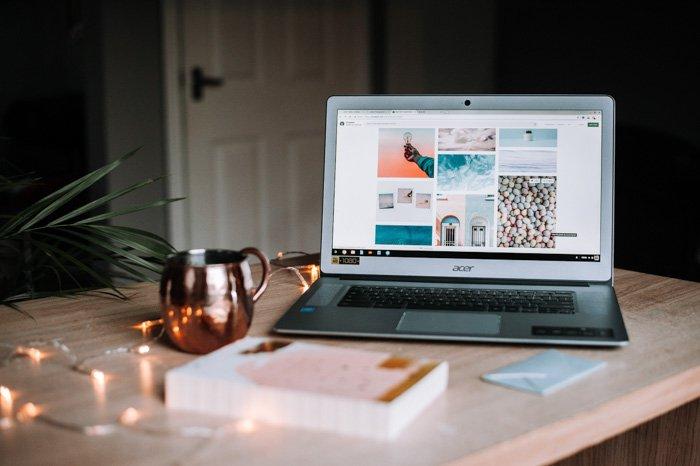 A laptop open on a website for building portfolios