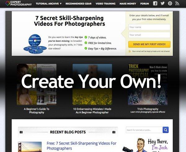 screenshot of expert photography website