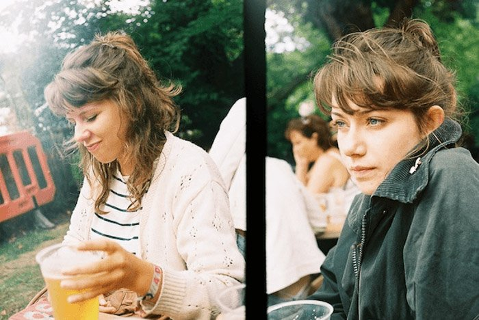Diptych of a girl drinking beers outdoor taken with a film/vintage camera