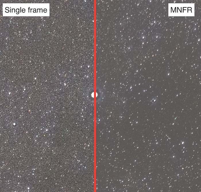 Comparison of the effect of doing MFNR on a Star field after auto-aligning the 32 frames.