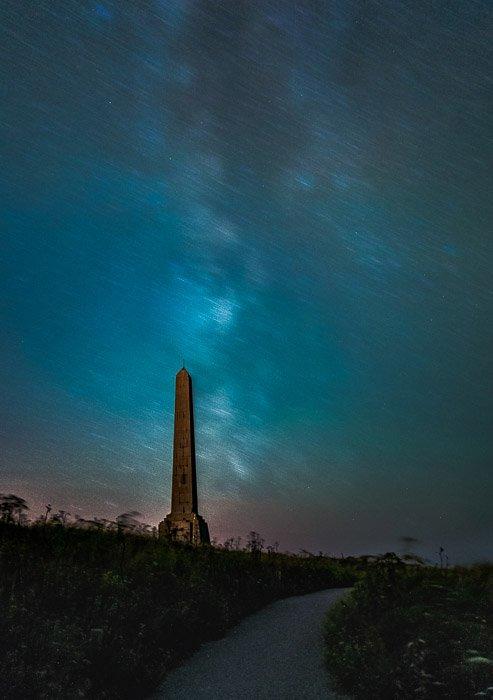 Atmospheric night view of the Obelisk in Cap-Blanc-Nez (France).