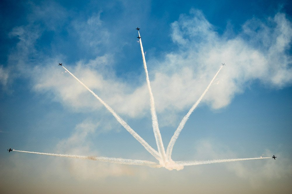Photo of planes forming figures in the sky
