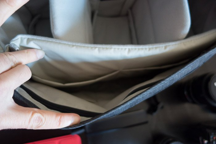 The inner compartment of the Tenba Messenger Camera Bag
