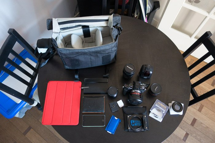 All gear that can fit inside the Tenba Messenger Camera Bag